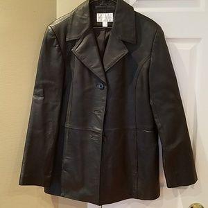 Mens leather coat, large